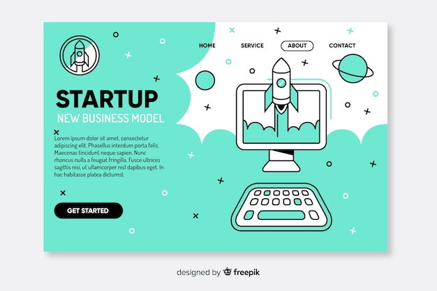 Template corporate startup landing page