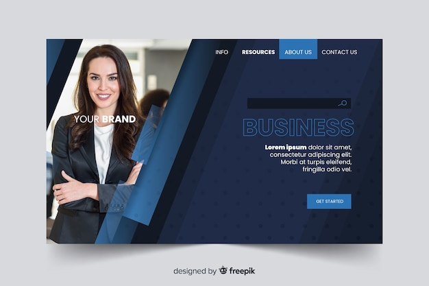 Template corporation landing page with photo Free Vector