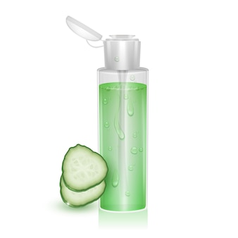 Template for cosmetic package moisturizing toner micellar water with extract cucumber 3d illustration