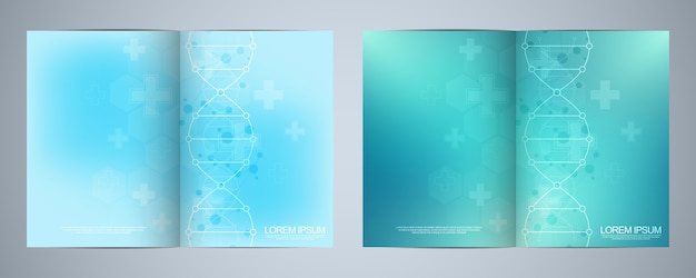 Template for cover or brochure, with molecules background and dna strand. medical or scientific and technological concept. Premium Vector