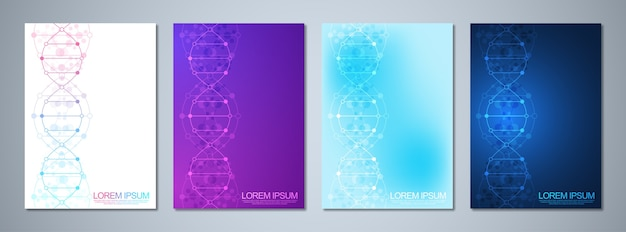 Template for cover or brochure, with molecules background and dna strand. medical or scientific and technological concept.