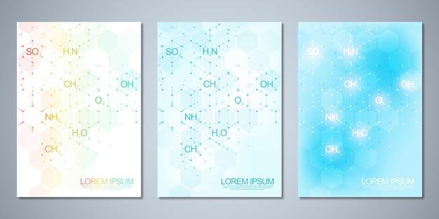 Шаблон обложки, флаер с фоном абстрактной химии и химических формул. концепция и идея для науки и инновационных технологий.