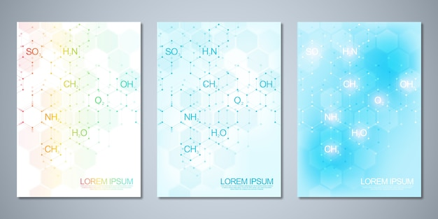 Template cover design,  flyer with abstract chemistry background and chemical formulas. concept and idea for science and innovation technology.
