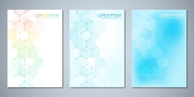 Template  cover design,  flyer, with molecules background. template design with concept and idea for science and innovation technology.