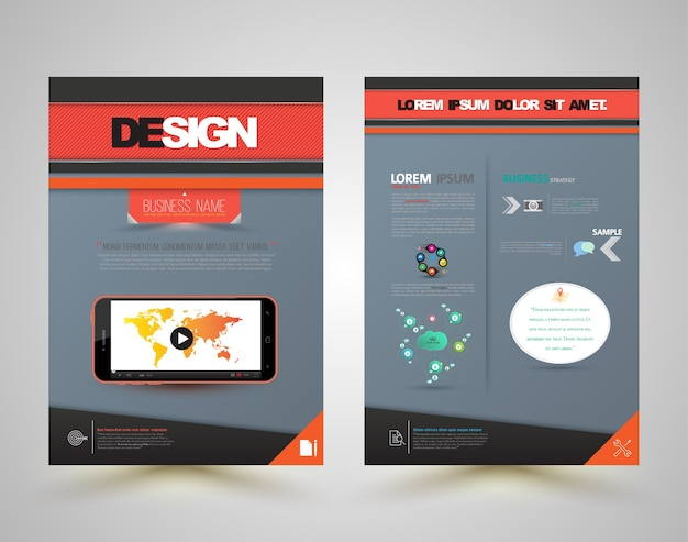 Template cover design front and back with smartphone