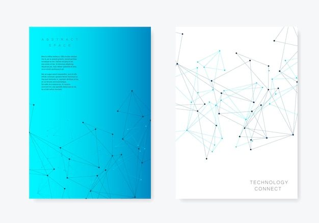 Template cover design  with polygonal triangles and connected lines and dots