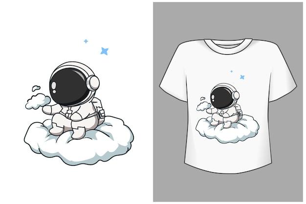 Template cute astronaut on cloud cartoon illustration