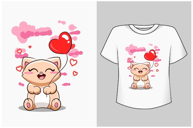 하트 풍선 만화 일러스트 템플릿 귀여운 고양이