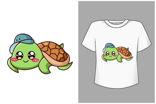 Template cute and funny turtle cartoon illustration