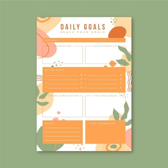 Template daily goals planner
