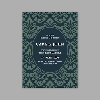 Template damask elegant wedding invitation
