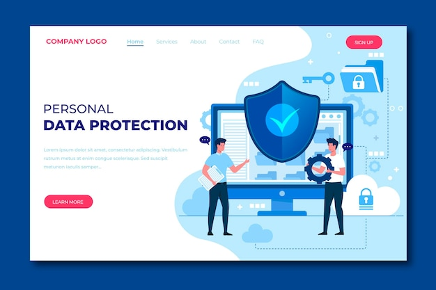 Template for data protection landing page
