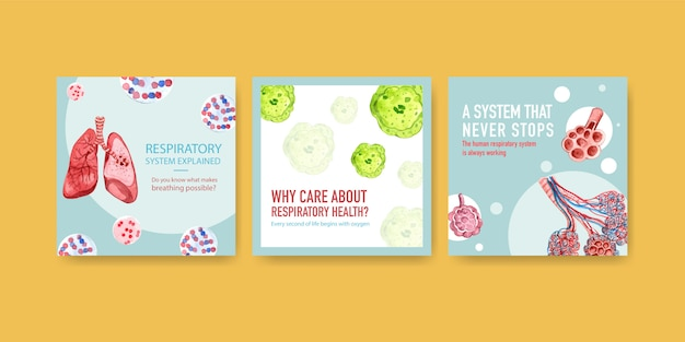 Template design ads with human anatomy of lung and respiratory,oxygen