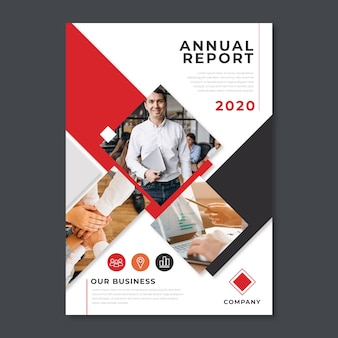 Template design for annual report with photo