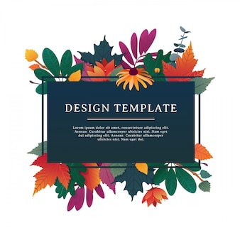 Template design banner for fall season with autumn frame and herb.