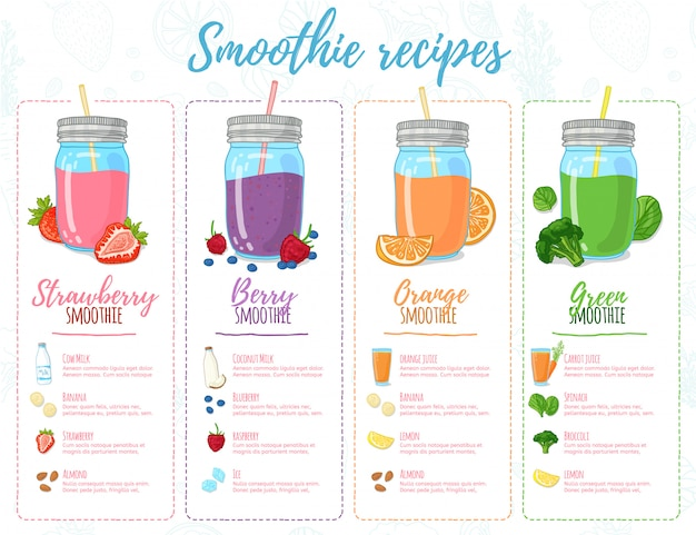 テンプレートデザインのバナー、パンフレット、メニュー、チラシのスムージーレシピ。スムージーのレシピと食材を使用したデザインメニュー。果物、野菜、ハーブから作られたカクテルのレシピ。