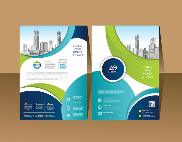 Template design for brochure annual report