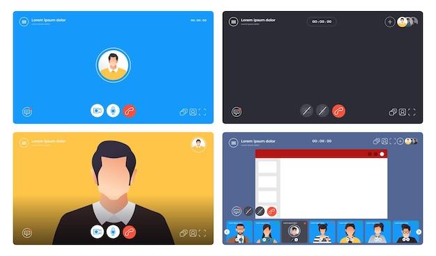 Шаблон видеоконференции концепции дизайна. онлайн-встреча, рабочая форма дома. веб-сайт и приложение с пользовательским интерфейсом.