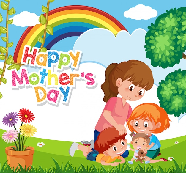 Шаблон дизайна для счастливого дня матери с мамой и детьми в парке