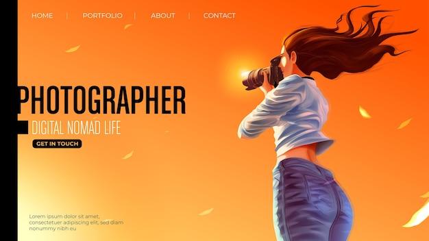 Дизайн шаблона для целевой страницы в векторной иллюстрации дамы-фотографа улыбается
