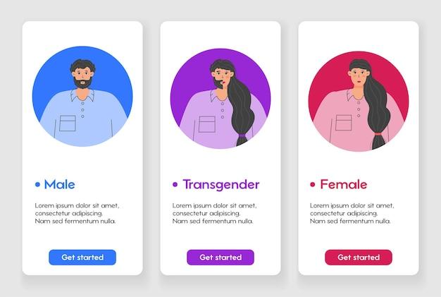 성별 정체성 개념이 있는 모바일 앱 페이지용 템플릿 디자인