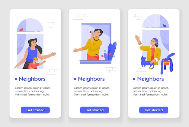 隣人の概念を持つモバイルアプリページのテンプレートデザイン