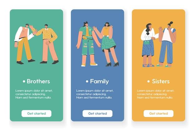 가족 관계 개념이있는 모바일 앱 페이지 용 템플릿 디자인