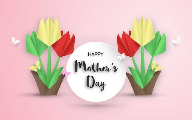 Template design for happy mother's day. vector illustration in paper cut and craft style.