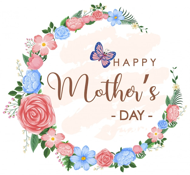 Template design for happy mother's day with flowers and butterfly
