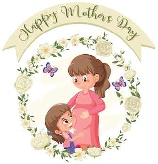 Template design for happy mother's day with mom and daughter