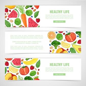 Шаблон дизайна горизонтального баннера с декором из фруктов.