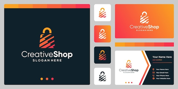 Template design logo shopping bag abstract and business card design template. premium vector