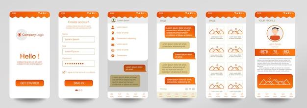 Template design of mobile app chat room ui ux gui set