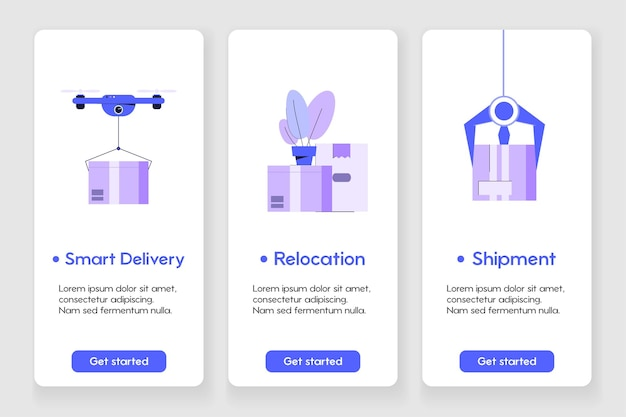 Template design for mobile app page with delivery and relocation concept