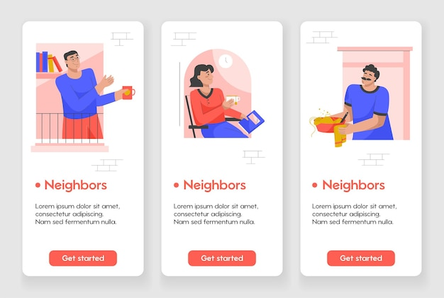 Template design for mobile app page with neighbors concept