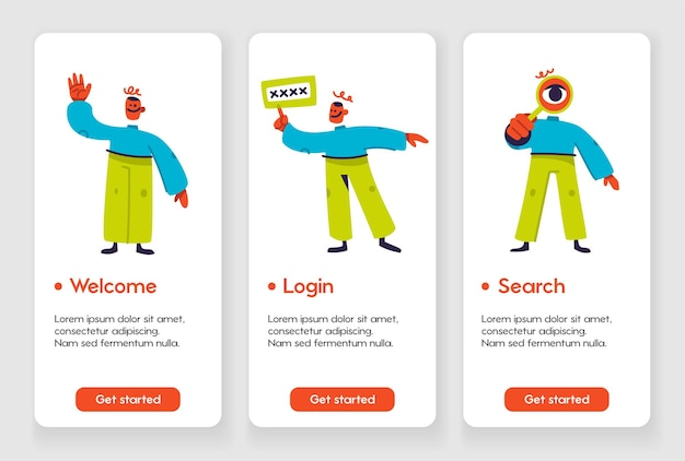 Template design for mobile app page with welcome login and search