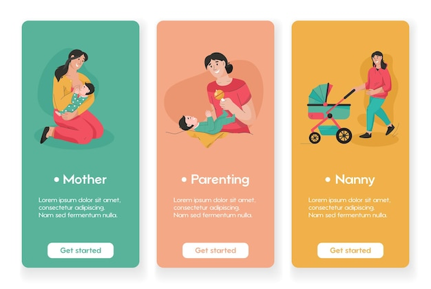 Template design for mobile app pages with motherhood and childhood
