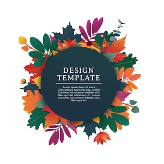 Template design round banner for fall season with white frame and herb