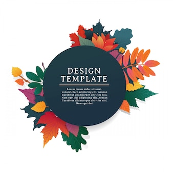 Template design round banner for fall season with white frame and herb.