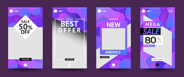 Template design set instagram stoties