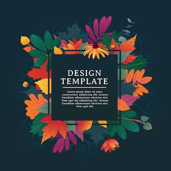 Template design square banner for fall season with white frame and herb
