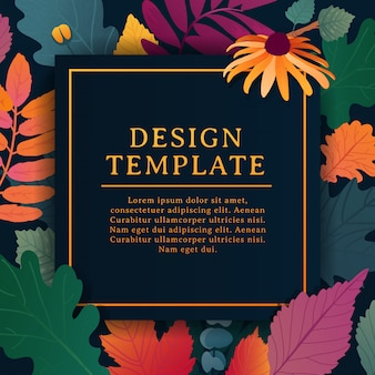 Template design square banner for fall season with white frame and herb.