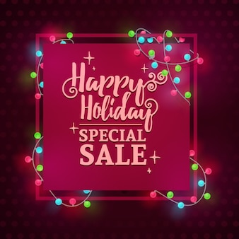 Template design square web banner for the new year's sale