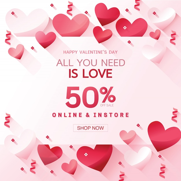 Template design vertical banner for valentine's day special offer