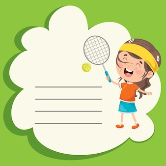 Template design with cute cartoon character making sport