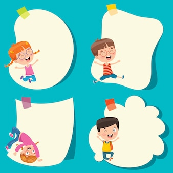Template design with cute cartoon characters