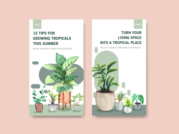Template design with summer plant and house plants for social media, online community, internet and advertise watercolor illustration