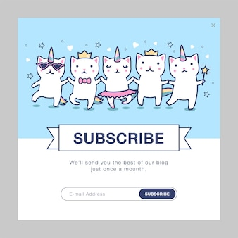 Template design with unicorn cats
