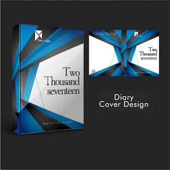 Template of diary cover with blue geometric shapes