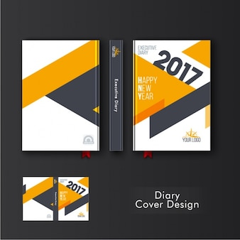 Template of diary cover with orange geometric shapes